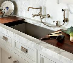 wall faucet kitchen o brien harris kitchens white shaker cabinets calcutta marble