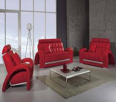 Casa Furniture Modern Red Leather Living Room Set Bentley - Red leather living room set
