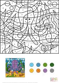 funny octopus color by number free printable coloring pages