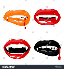 vampire halloween set lips fangs stock vector 492294967