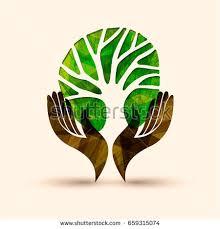 human holding green tree symbol stock vector 659315074