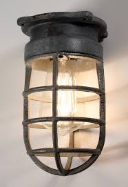 industrial cage light bulb cover antique industrial cage light fixture for wall or ceiling signed