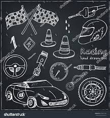 Automotive Flags Racing Auto Items Sketch Icons Hand Stock Vector 431801128