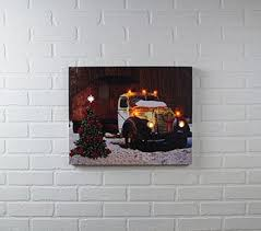 lighted canvas art with timer amazon com holiday trucking lighted canvas wall art with timer