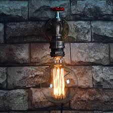 Edison Wall Sconce Single Head Retro Rustic Water Pipe Wall Lamp Vintage Fixtures