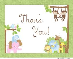 safari boy thank you card jungle blue monkeys