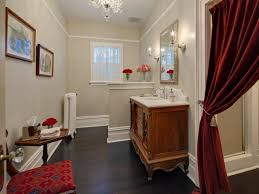 glamorous decorating ideas using red shower curtains and