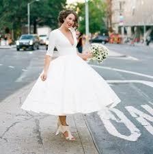 low cost wedding dresses tea length wedding dresses cheap with v neck half