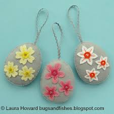 egg ornaments bugs and fishes by lupin flowers felt easter egg ornaments