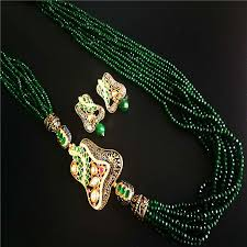 green crystal necklace set images Bollywood inspire antique designer party wear semi precious kundan jpg