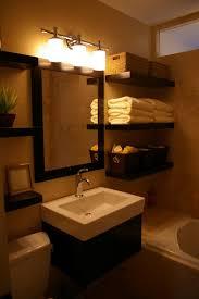 wood bathroom floating shelf maroon stained wall glass corner