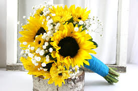 Sunflower Wedding Bouquet Yellow Wedding Bouquets Bb0888 Sunflower And Baby U0027s Breath Bouquet