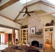 faux brick panels entry farmhouse with brick fireplace ceiling