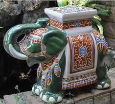 Ceramic Accent Table Porcelain Garden Stool Glazed Ceramic Elephant Plant Stand Patio