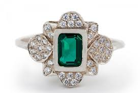 vintage emerald engagement ring diamond emerald ring halo