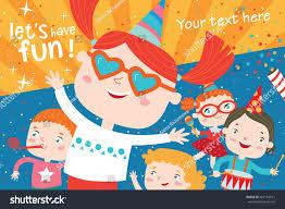 children having fun birthday party stock vector 667154671