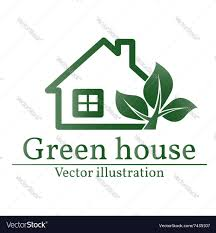 green house logo eco house green house green hous vector image
