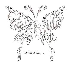 name tattoos made into a butterfly shape by a