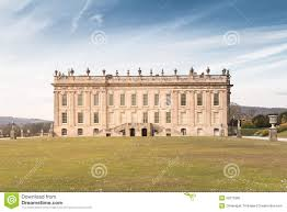 chatsworth house front view took from the garden editorial image