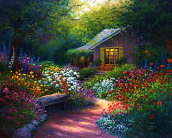 flower house flower garden path paintings images flowers gardens