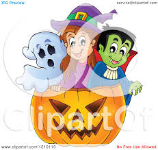 halloween clipart ghost cartoon of a ghost witch and vampire in a halloween jackolantern