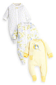 Online Baby Clothing Stores Buy Three Pack Yellow Bee And Pretty Floral Sleepsuits 0mths 2yrs