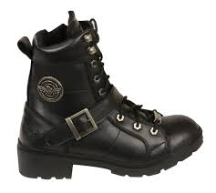 ladies black motorcycle boots ladies black leather lace up boots w side buckle plain toes