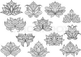 outline paisley flowers with ethnic indian and