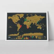 Large World Map Poster by Scratch Map Deluxe Edition Personalised World Map By Luckies