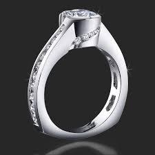 beveled engagement ring spiral wrap set pave and bezel diamond engagement ring