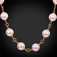 necklace pearl pink images 2018 pink pearl jewelry 18k gold plated big pearls necklace for jpg