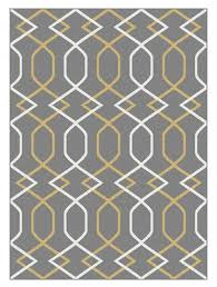 geometric gray rug with yellow lines small creative spaces