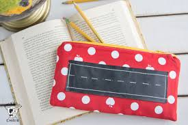 back to sewing project chalkboard pencil pouch