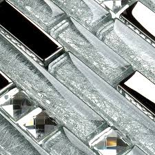 Metal Diamond Glass Tiles For Kitchen Backsplash Silver Stainless - Glass and metal tile backsplash