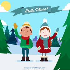 hello winter background with happy vector free