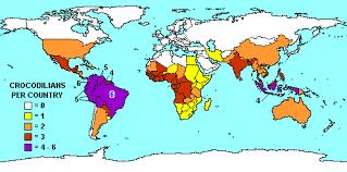 live global map crocodilian species list distribution maps