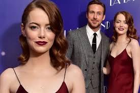 ryan gosling emma stone couple film emma stone stuns in deep red and oozes glamour alongside ryan