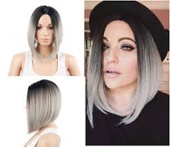 black at root of hair bob short straight black root gray ombre synthetic hair wigs two
