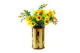 Home Decor Flower Arrangements Mosaic Hex Vases W Glass Liner Designer Wooden Flower Vase