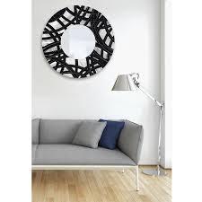 mirror 108 round silver modern metal wall art mirror accent by standard 23