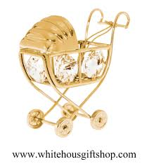 ornament gold classic baby carriage ornament or desk model
