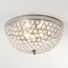 flush mount ceiling light for bathroom with crystal jewel lights