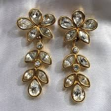 monet earrings 70 monet jewelry vintage rhinestone and gold tone earrings