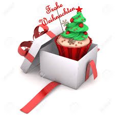 openend gift with cupcake and german text frohe weihnachten