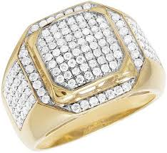 diamond ring for men design men s 10k yellow gold genuine diamond square statement ring 1 3 4