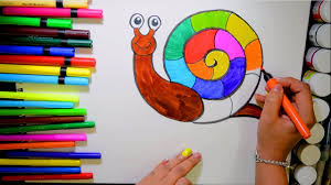 draw and color rainbow snail coloring page and learn colors for