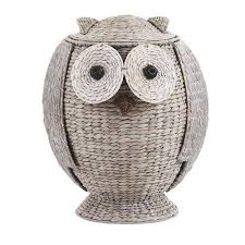 Clothes Hampers With Lids Home Decorators Collection Owl 21 In H X 16 5 In W Grey Hamper