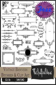 free photoshop brushes vintage banners frames ornaments png clip