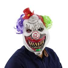 latex full head scary toothy clown mask with hat and hair for