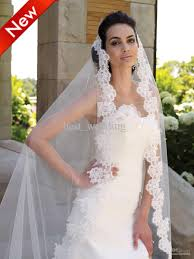 luxury white lace applique wedding veils for wedding dresses